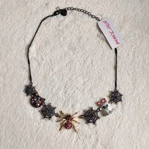 NWT Betsey Johnson Pink Spider Halloween Necklace